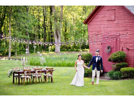 Demaranville Farm Bride Groom Walking