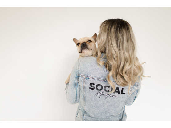 Social Static back view with dog