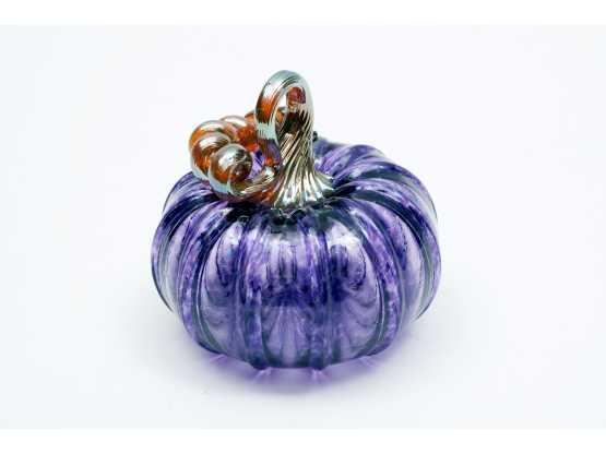 Gregory T. Glass Blowing blue glass pumpkin