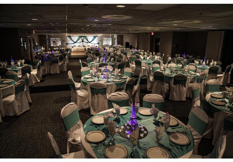 Ballroom set for 200 guests