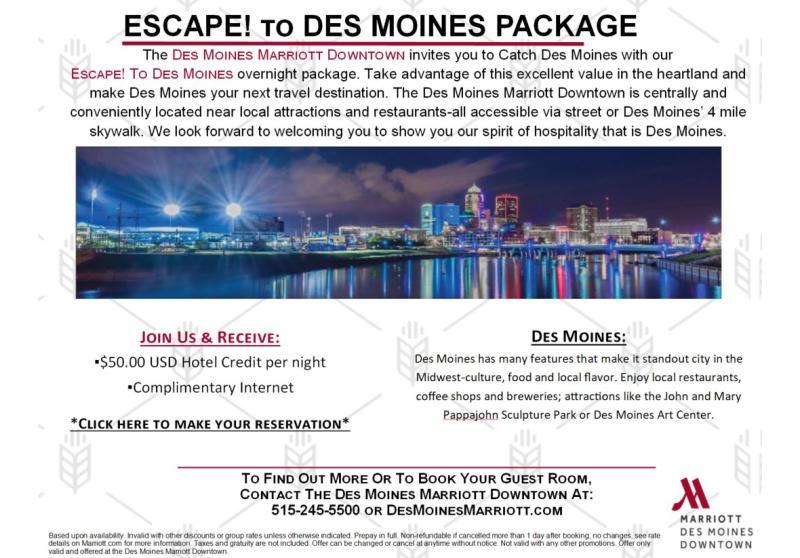 Escape to Des Moines