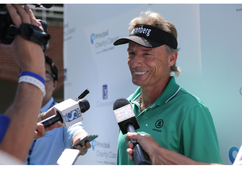 Bernhard Langer meets the media at the 2017 Principal Charity Classic