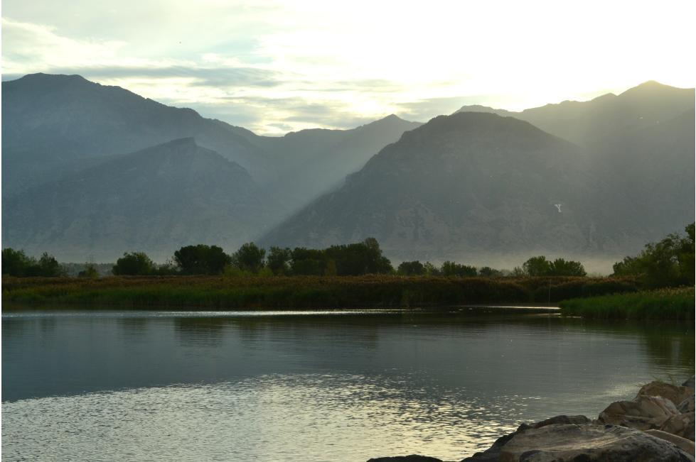 Utah Lake scenery with Y