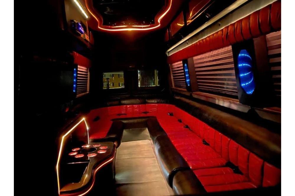inside black bus