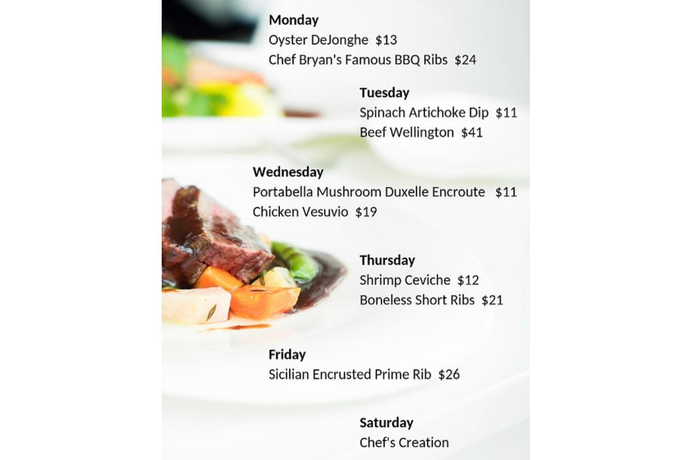 Our Current Nightly Specials