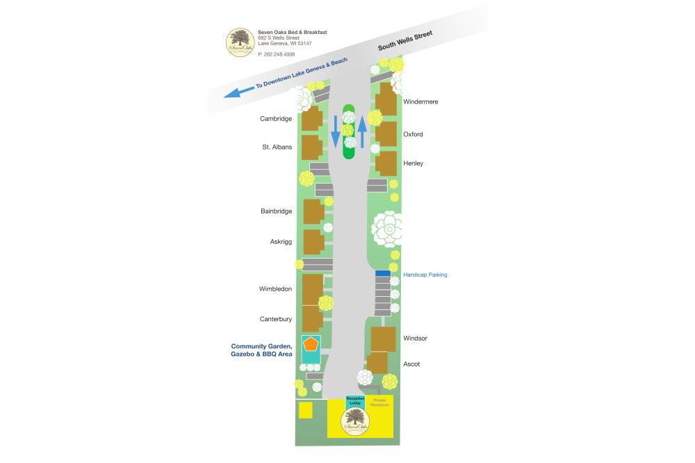 SevenOaks parking and cottage layout.