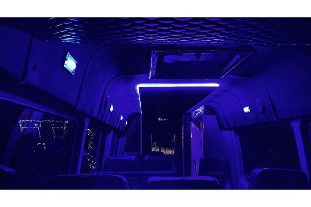 inside white bus