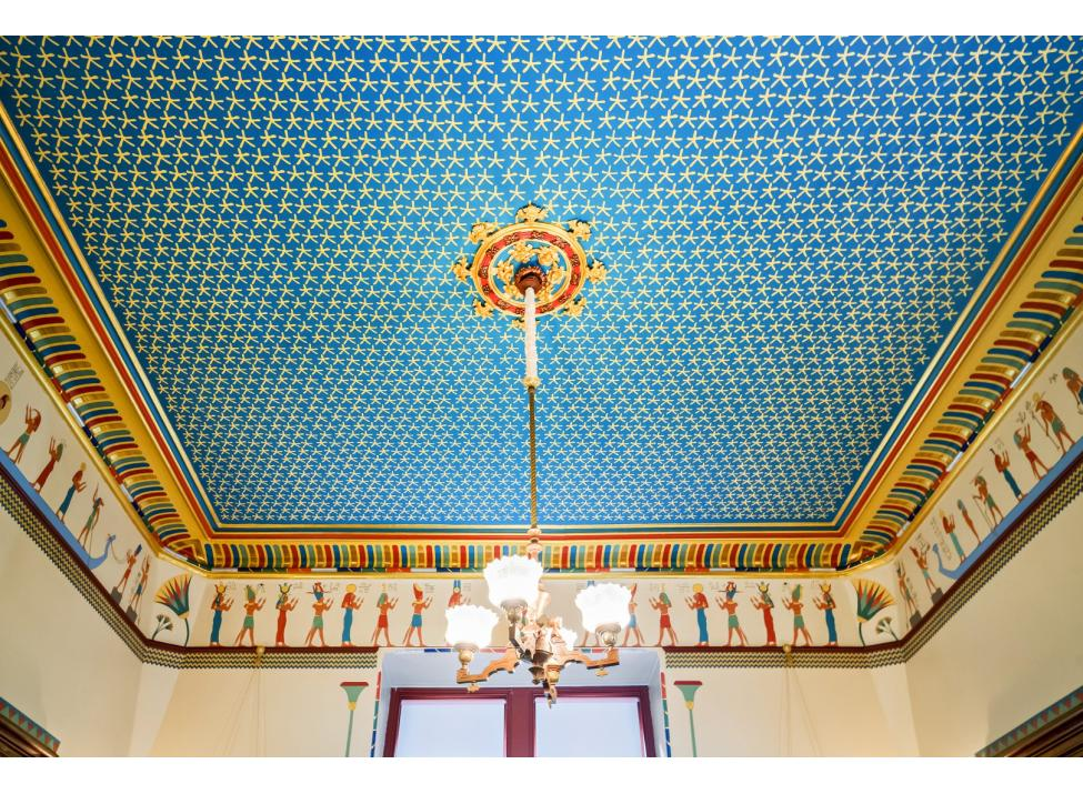 Octagon House music room ceiling
