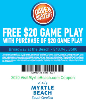 Dave & Buster's - Free $20 Game Play
