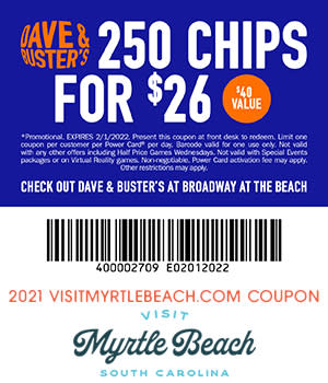 Dave & Buster's 250 Chips for $26