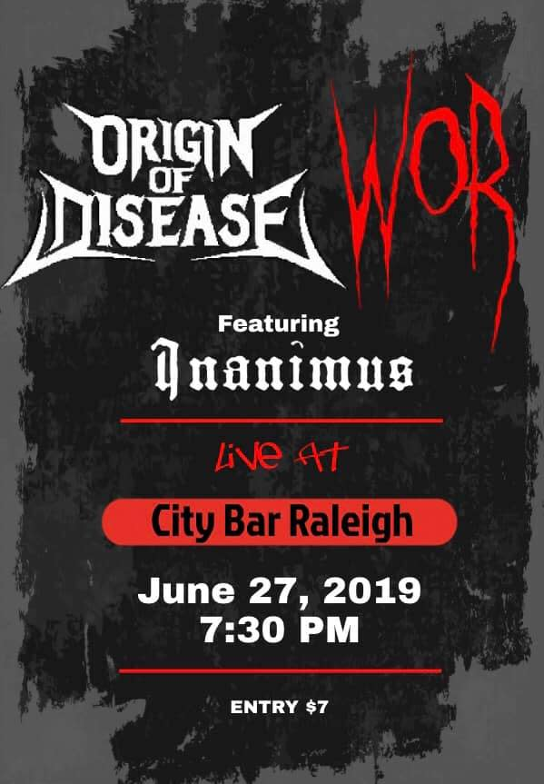 Image result for origin of disease, Wor and inanimus at City bar raleigh