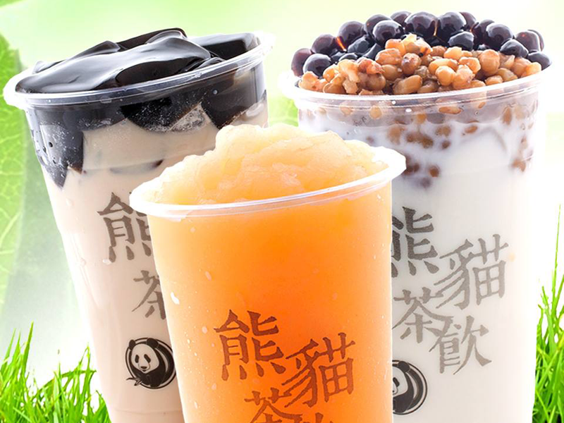 Panda Tea - Large Herbal Jelly Milk Tea(Made with origin black milk tea and handmade grass Jelly) , Peach Slush ,Green Wow (Made with Fresh Canadian Milk with Green Bean & Bubbles)