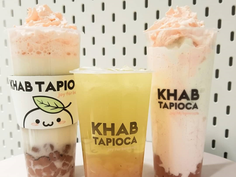 Khab Tapioca - Hot Vanilla bean with strawberry whip, Fresh Sakura green tea, Vanilla bean smoothie with strawberry whip