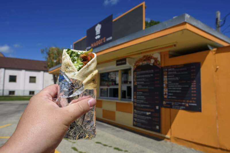 A falafel wrap is one of Maggi's Syrian specialties. - Winnipeg Free Press/Jesse Boily