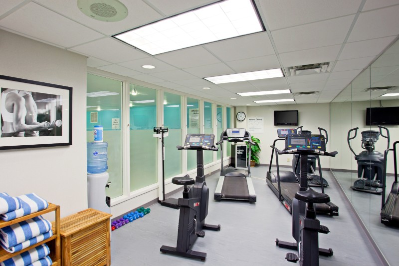 Equipped with two treadmills, and stationary bikes, weights, TV, WIFI access, ice cold hand towels, water and towels.