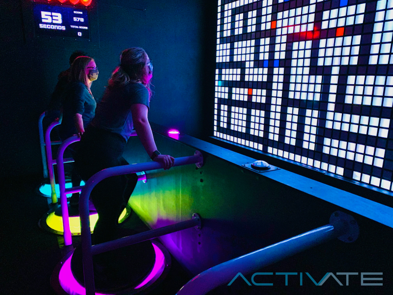 In Control, you'll tilt on a standing joystick to move on the giant screen ahead.