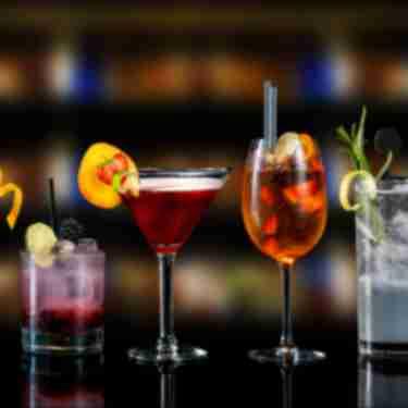 Various cocktails at a bar
