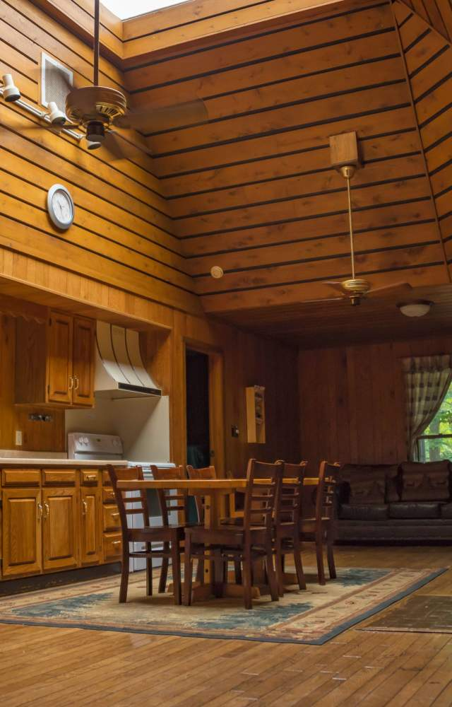 The inside of a cabin at Potato Creek State Park