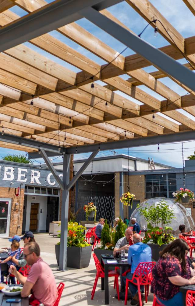 Customers enjoy outdoor seating at The Lauber in downtown South Bend