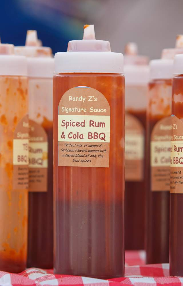 A variety of BBQ sauces at the blue ribs festival