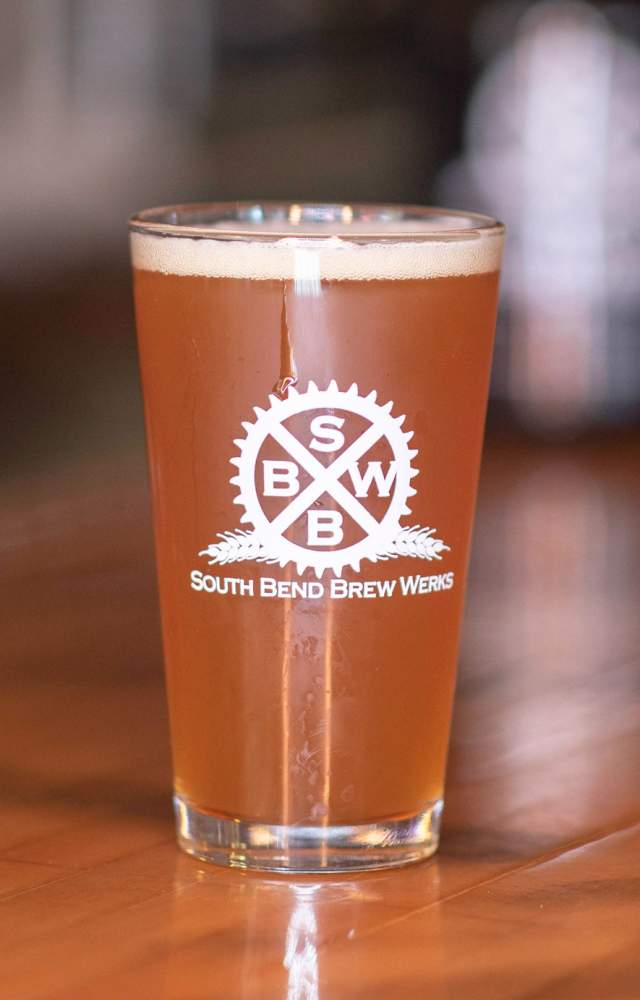 A cold beer from South Bend Brew Werks