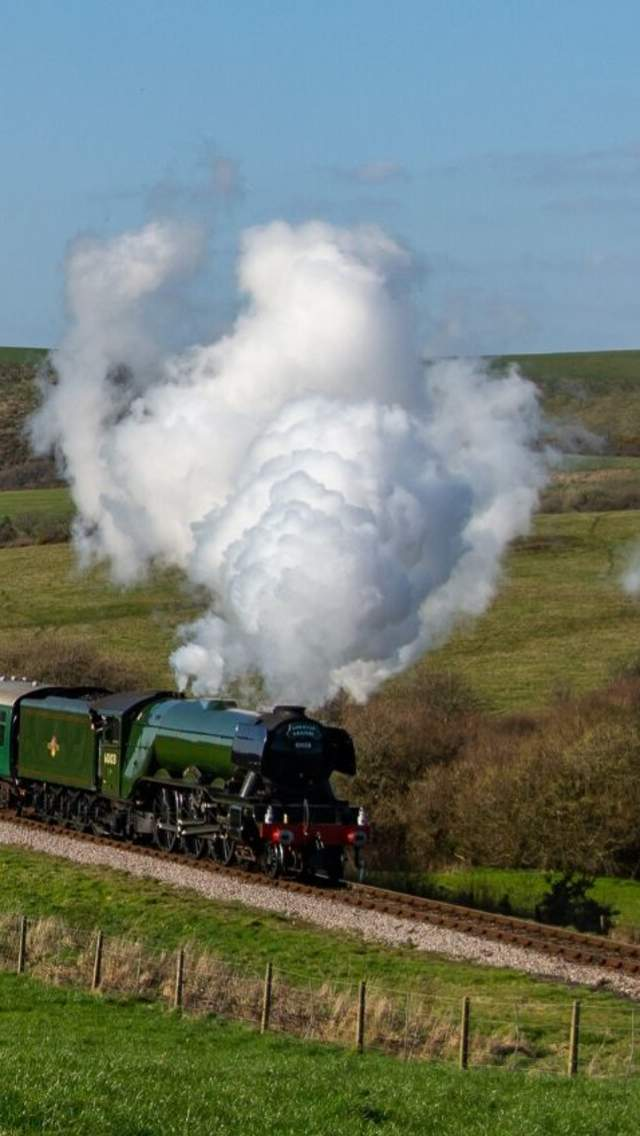 Swanage Railway steam train travelling through the countryside with Corfe Castle in the background