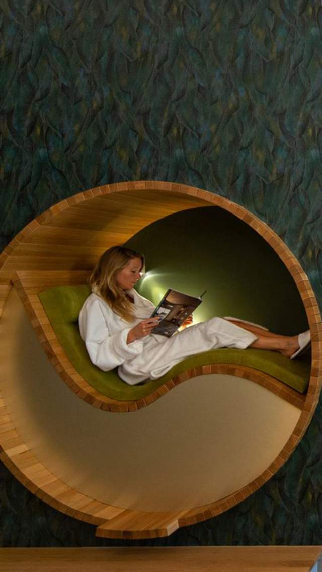 Two people in relaxing pods in Monart Spa Poundbury