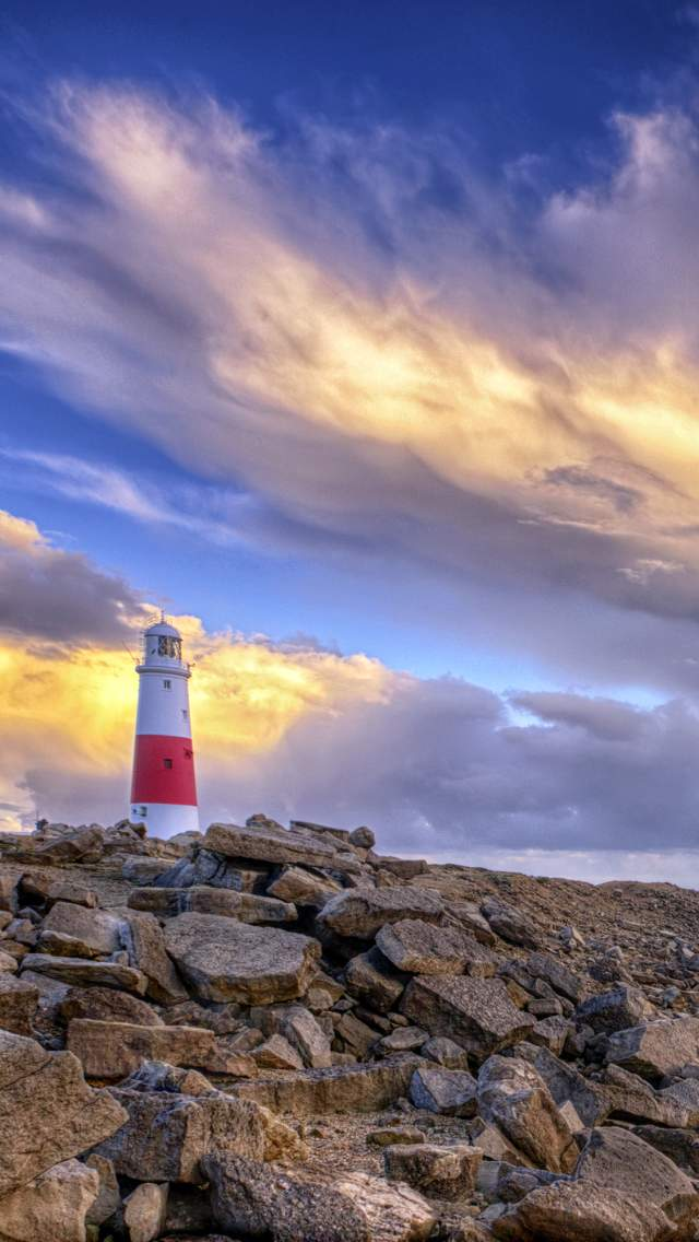 clouds and blue sky over Portland Bill