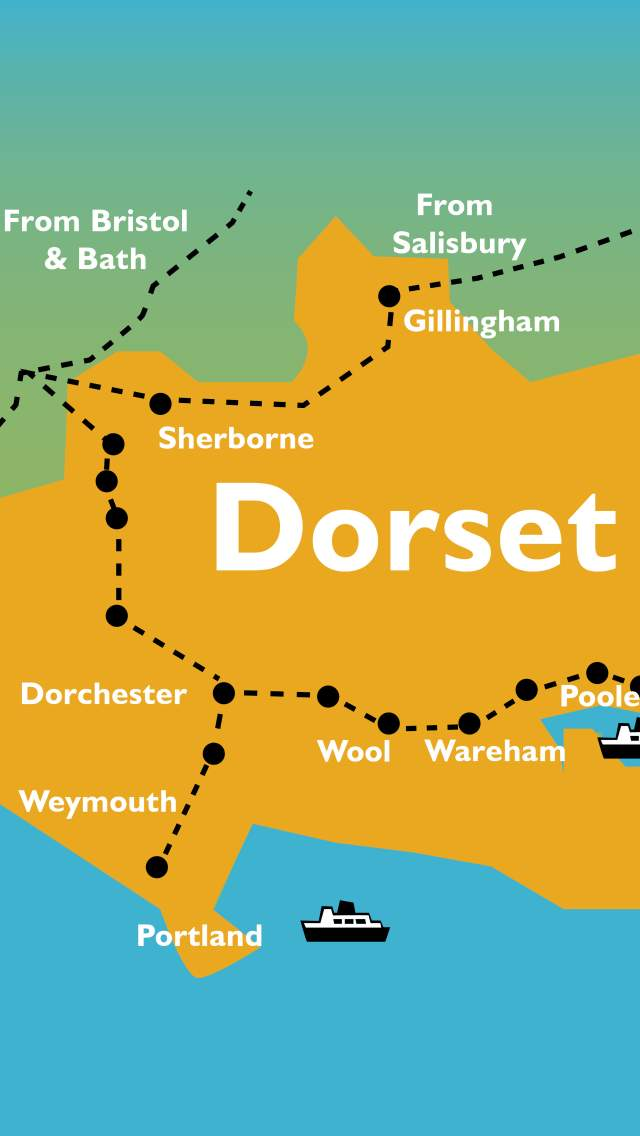 Map showing locations of train station, ferry ports and airport in Dorset