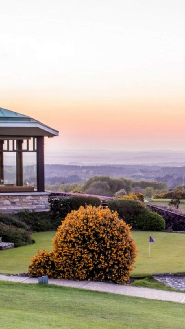 Golf Club building at the Isle of Purbeck Golf Club overlooking Poole Harbour