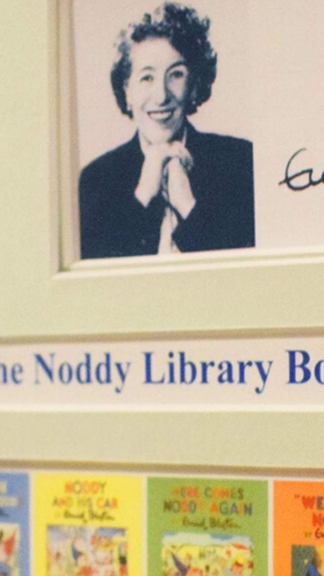 Photo of Enid Blyton and the front covers of the Noddy books