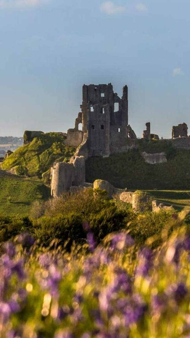 Beautiful Corfe Castle in Spring Time