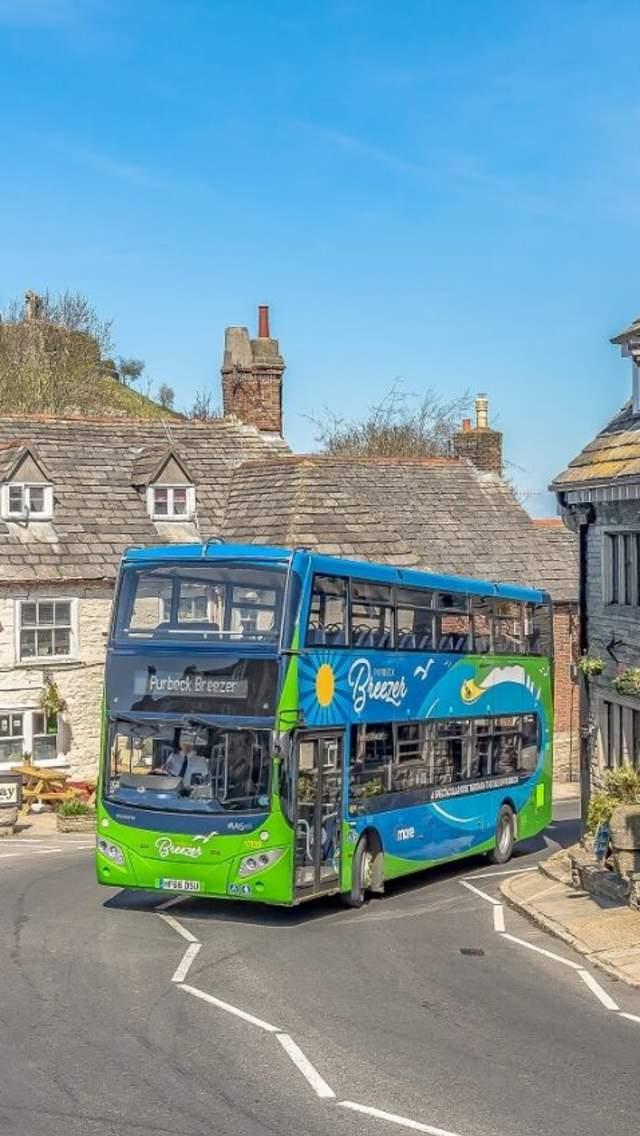 Purbeck Breezer bus at Corfe Castle village