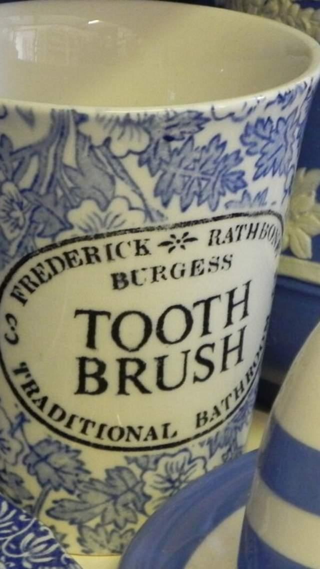 Blue and white ceramics in Antique shop