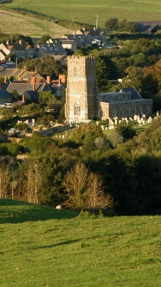 Views over Abbotsbury village in Dorset