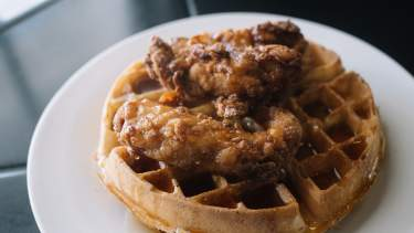 Fried Chicken On A Waffle At Mockingbird Cafe
