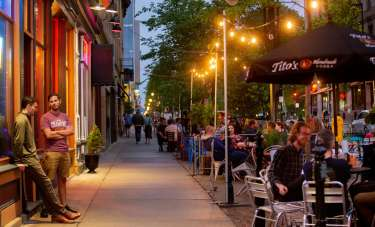 Streateries line downtown Madison on a spring evening
