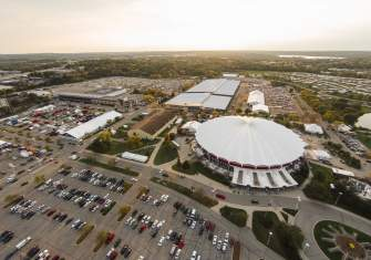 Aerial view of the Alliant Energy Center campus