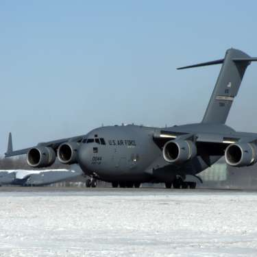 C-17 Globemaster on the runway at Wright-Patterson Air Force Base in Fairborn, Ohio