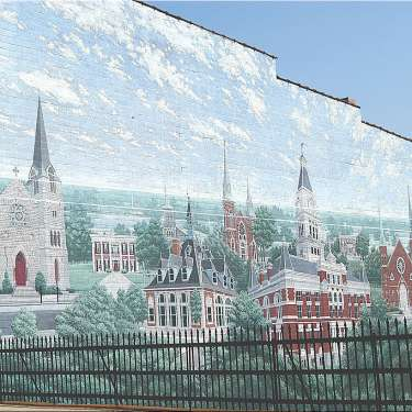 mural of historic buildings