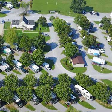 overhead aerial of campground