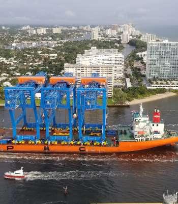 New Super-Post-Panamax Gantry Cranes enter Port Everglades.