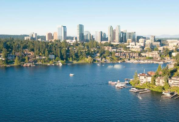 Bellevue, Washington, aerial view a wealthy neighborhood along the shoreline of Lake Washington and downtown Bellevue