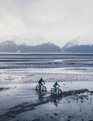Low tide bikers