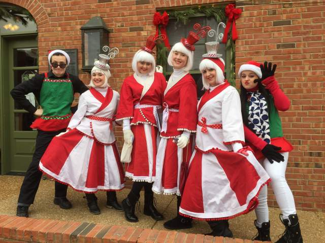 Friends dressed up in Christmas attire in St Charles