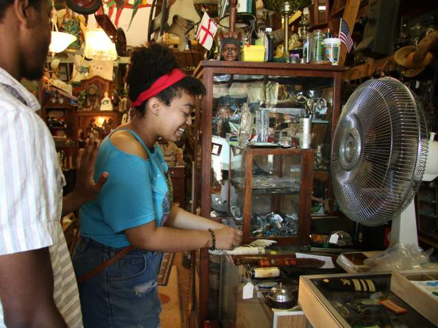 Man and Woman shopping for antiques