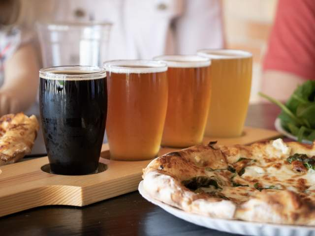 Beer and pizza at Good News Brewing