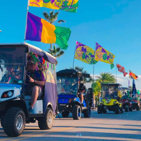A golf cart parade goes by, each cart decorated with Mardi Gras colors and flags