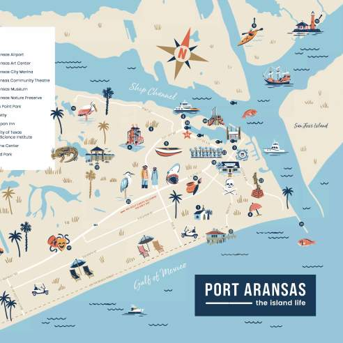 An illustrated map of Port Aransas in light blues and sand colors