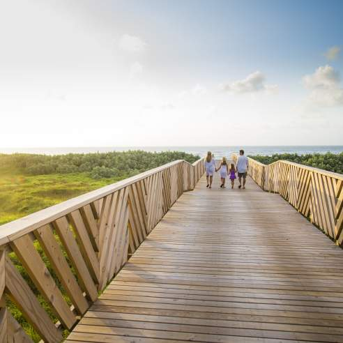 A family of four in the distance walks on a wooden boardwalk leading to the beach